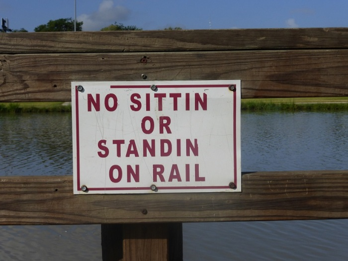 """Sign at a park pond that reads: No sittin or standin on rail.  (The """"g"""" of """"ing"""" is missing on purpose."""