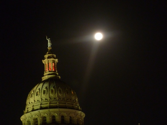 Photo of Texas Capitol and the full moon taken July 23, 2013