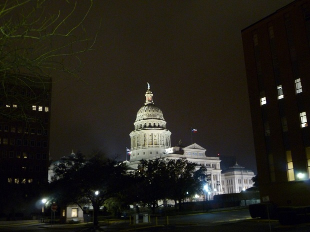 Photo of the Texas Capitol at night, taken February 24, 2011