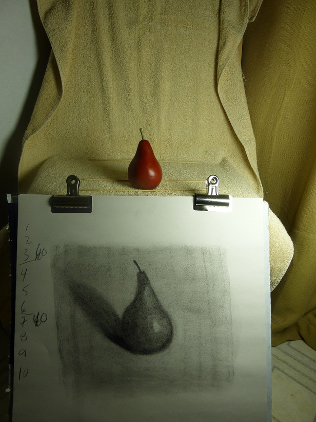 Red pear and sketch #2 together to see how I did.  Sketch #2 is much better, I think.