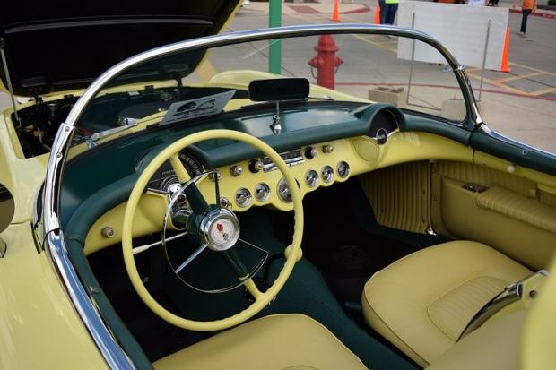 Inside the yellow Corvette