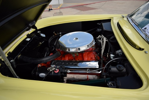 Under the hood of the yellow Corvette