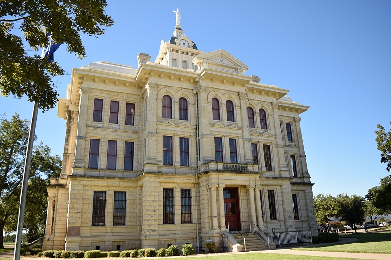 The Milam County Courthouse, facing west