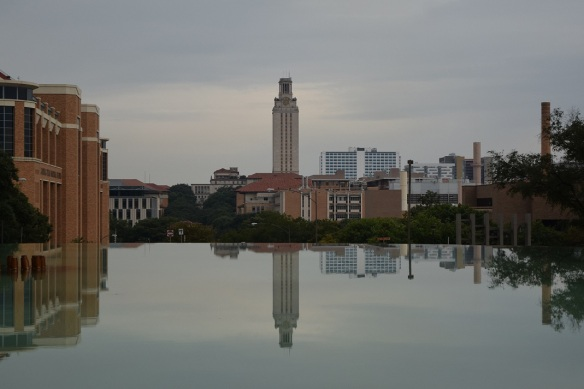 University of Texas at Austin tower reflected