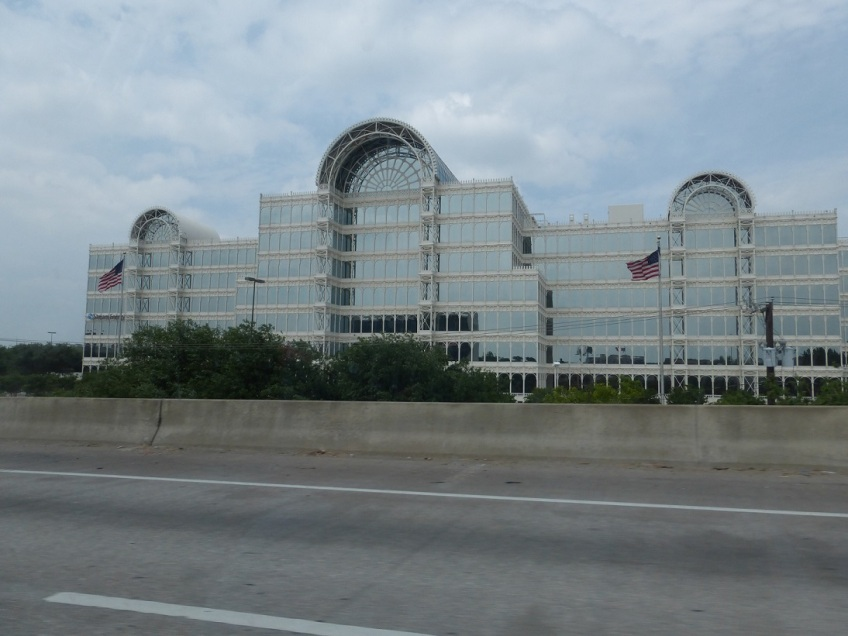 The Infomart building in Dallas, Texas, mostly glass