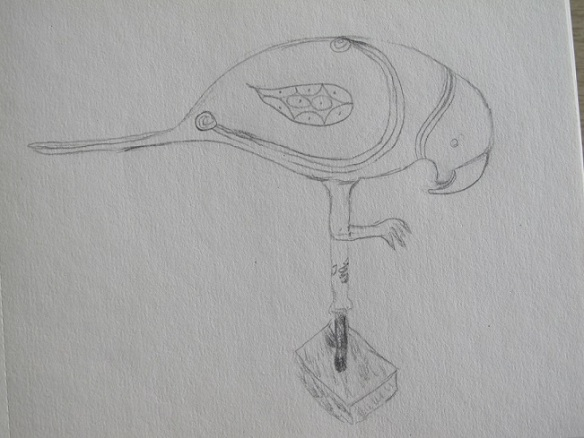 Sketch of a Finial in the Form of a Parrot