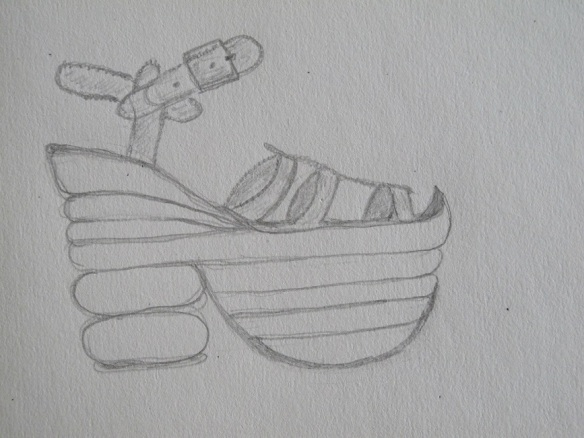 A pencil sketch of the sandal