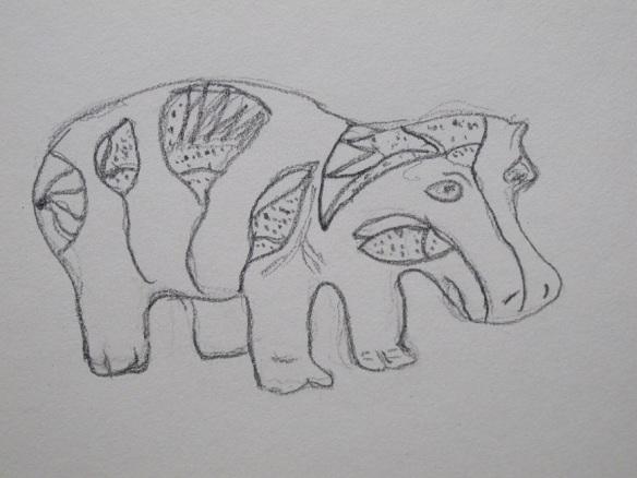 Sketch of hippopotamus