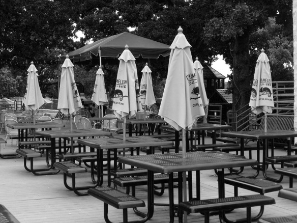 Patio seating at Central Market