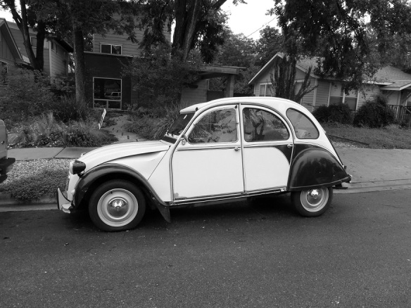 Citroen car in a black and white photo