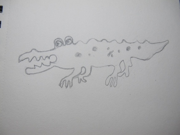 Sketch of a metal alligator