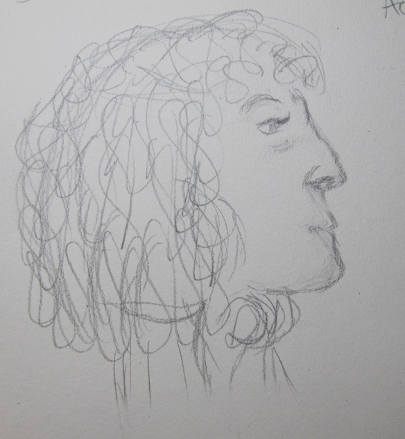 Sketch of a woman (her head) who was at the library