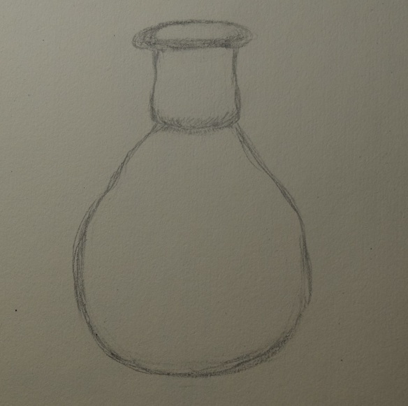 Sketch of the glass perfume bottle