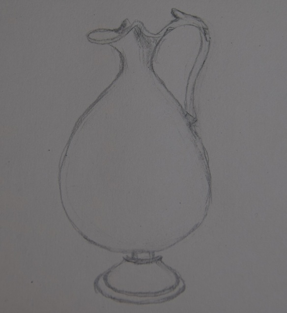 a rapid sketch of the glass oinochoe