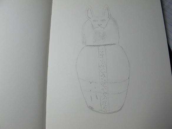 First one in my new sketchbook, sketch of the canopic jar with a jackal-headed lid