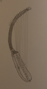 Sketch of the shoulder harp from Egypt