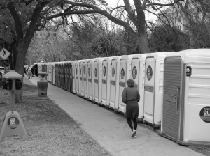 A line of portable potties