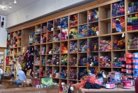 Wall of yarn at The Quilted Skein, La Grange, Texas