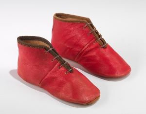 Red Leather Baby Shoes; 1840-1849; American