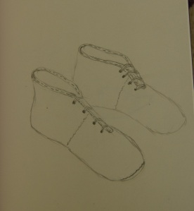 Sketch of baby shoes