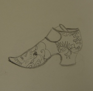 Sketch of the silk shoe