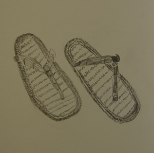 Sketch of the papyrus sandals
