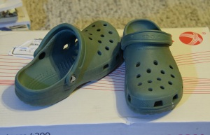 Summer Crocs, with the holes for air ventilation