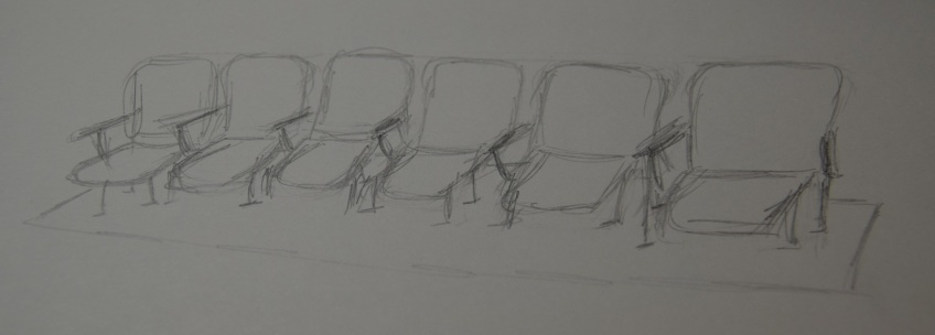 Sketch of the row of chairs