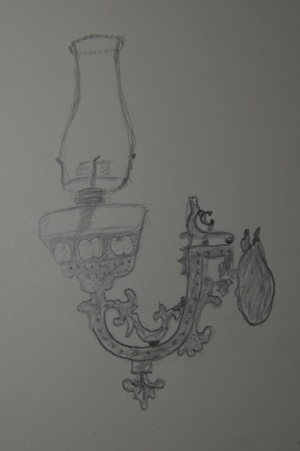 Sketch of an oil lamp