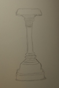Sketch of a bronze oil lamp