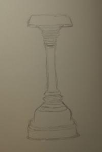 Sketch of a bronze oil lamp