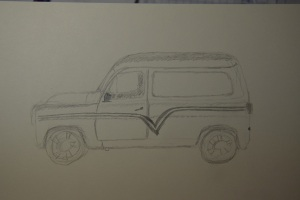 Sketch of the Silver Bullet car at the car show