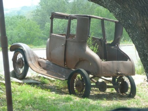 Really old car, or just the frame, in Llano, Texas