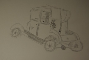Sketch of an old, rusted out vehicle frame in Llano, Texas