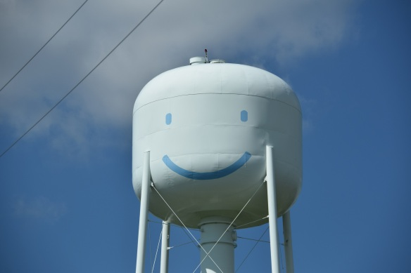 Water Tower with a smiley face near Elroy, Texas