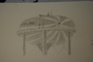 Sketch of Luling's Watermelon Water Tower