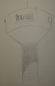 Sketch of Cabela's water tower in Buda, Texas