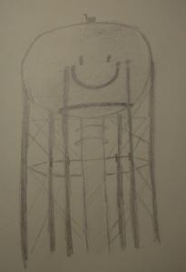 Sketch of Cedar Creek Water Tower