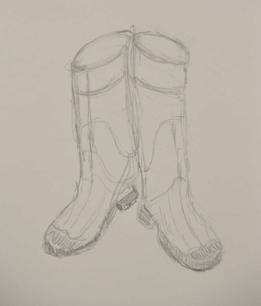 Sketch of rubber boots