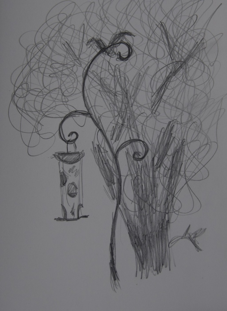 Sketch of hanging bird feeder
