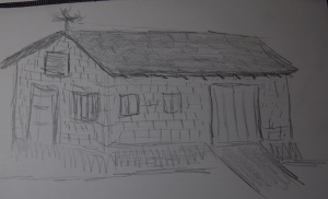 Sketch of a brick garage in Giddings