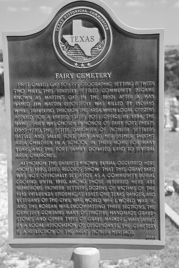 Historical marker at the Fairy Cemetary