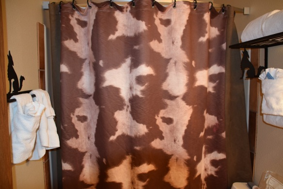 Cowhide print on the shower curtain