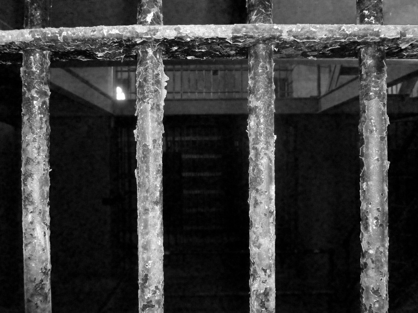 Jail cell at the historic jail in Llano, Texas
