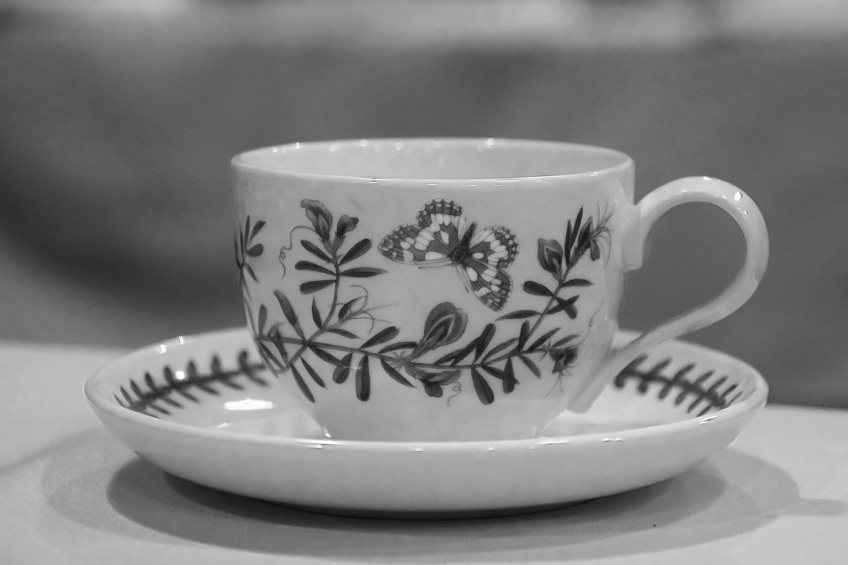 A teacup with butterflies and flowers in black and white