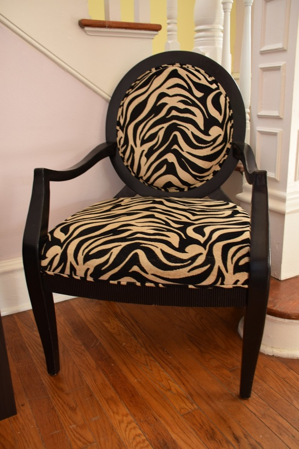 Chair with zebra-striped fabric at a hair salon
