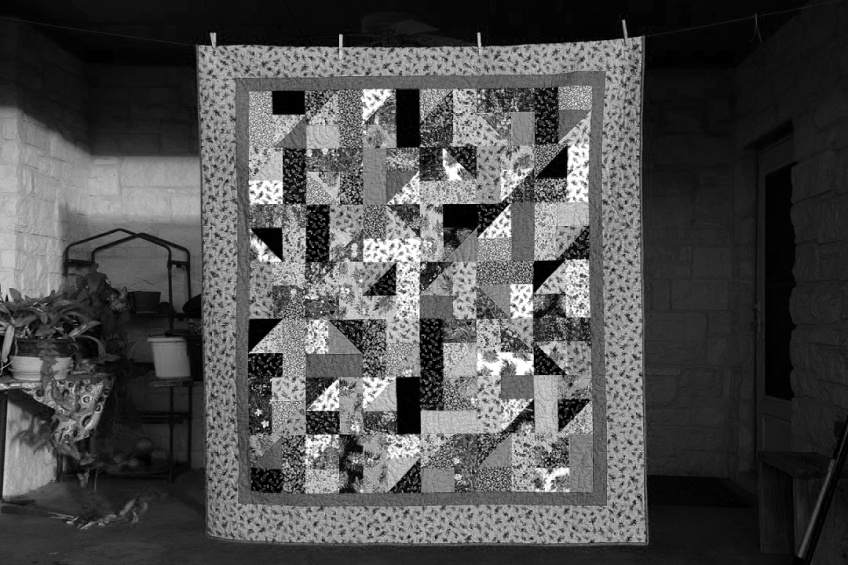 A quilt with wildflower fabrics (color photo scheduled to post 16 Nov 2015)