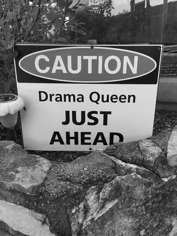 "Sign that reads ""Caution Drama Queen Ahead"" near the entrance of the Storiebook Cafe, Glen Rose, Texas"