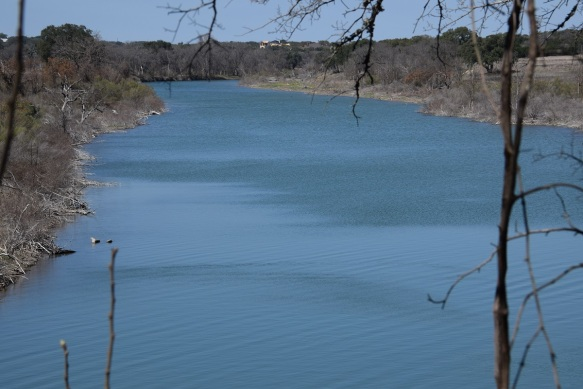 The North San Gabriel River. It flows into Lake Georgetown.