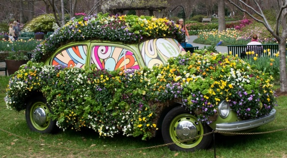 VW Bug and flowers